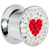 1/2 Stainless Steel Aurora Gem Red Heart Screw Fit Plug