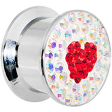 "9/16"" Stainless Steel Aurora Gem Red Heart Screw Fit Plug"