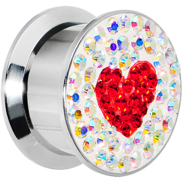 "5/8"" Stainless Steel Aurora Gem Red Heart Screw Fit Plug"