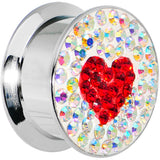 18mm Stainless Steel Aurora Gem Red Heart Screw Fit Plug