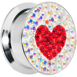 20mm Stainless Steel Aurora Gem Red Heart Screw Fit Plug