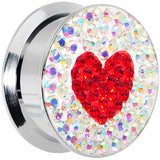 "7/8"" Stainless Steel Aurora Gem Red Heart Screw Fit Plug"