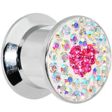 00 Gauge Stainless Steel Aurora Gem Pink Heart Screw Fit Plug