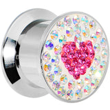 "1/2"" Stainless Steel Aurora Gem Pink Heart Screw Fit Plug"