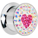 "9/16"" Stainless Steel Aurora Gem Pink Heart Screw Fit Plug"