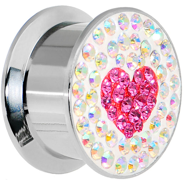 "5/8"" Stainless Steel Aurora Gem Pink Heart Screw Fit Plug"
