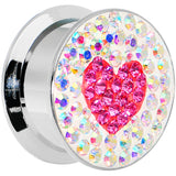 18mm Stainless Steel Aurora Gem Pink Heart Screw Fit Plug