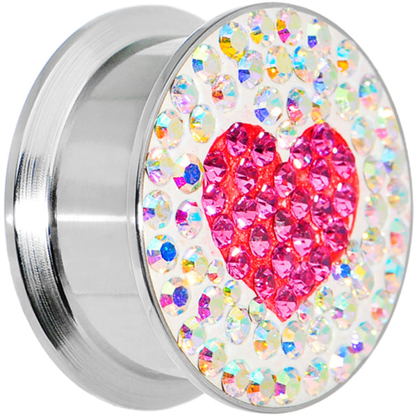 20mm Stainless Steel Aurora Gem Pink Heart Screw Fit Plug