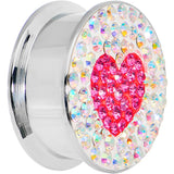 "7/8"" Stainless Steel Aurora Gem Pink Heart Screw Fit Plug"