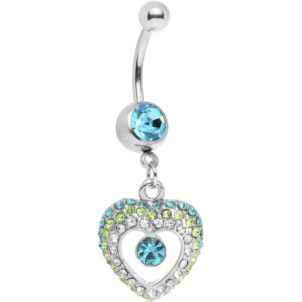 Aqua Gem Ombre Paved Hollow Heart Belly Ring