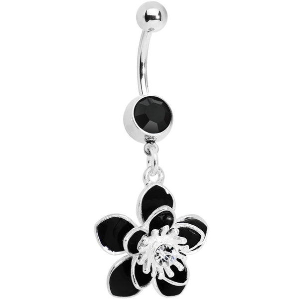 Dark Nature Blossoming Flower Belly Ring