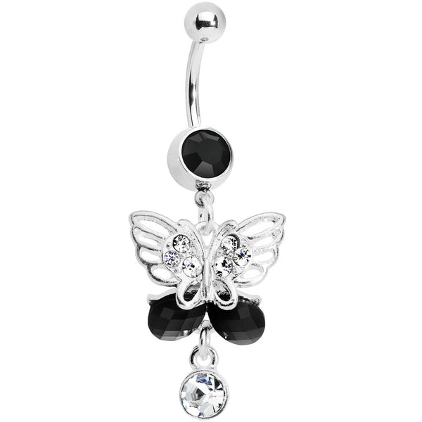 Dark Nature Gem Wing Butterflies Belly Ring