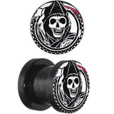 0 Gauge Acrylic Sons of Anarchy Gunsickle Grim Reaper Screw Fit Plug Set