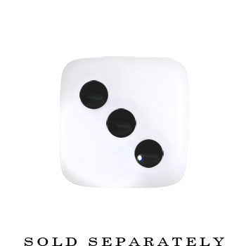 2 Gauge White Acrylic Square Dice Saddle Plug