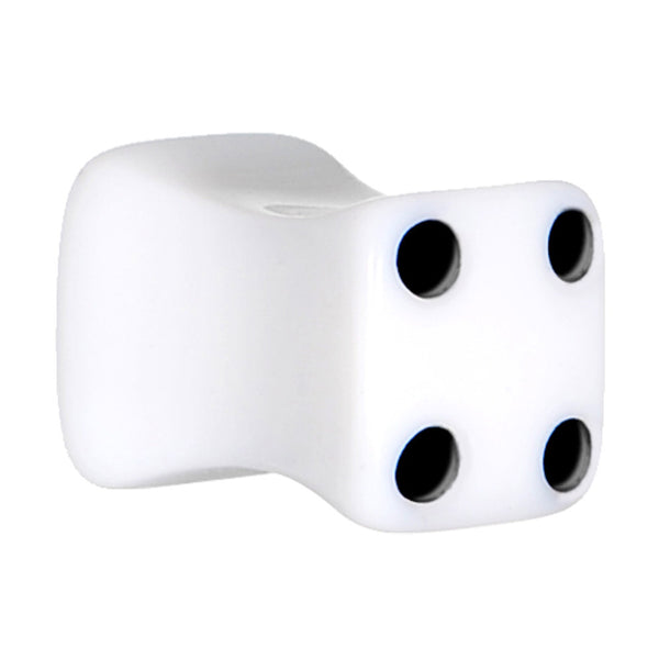 0 Gauge White Acrylic Square Dice Saddle Plug