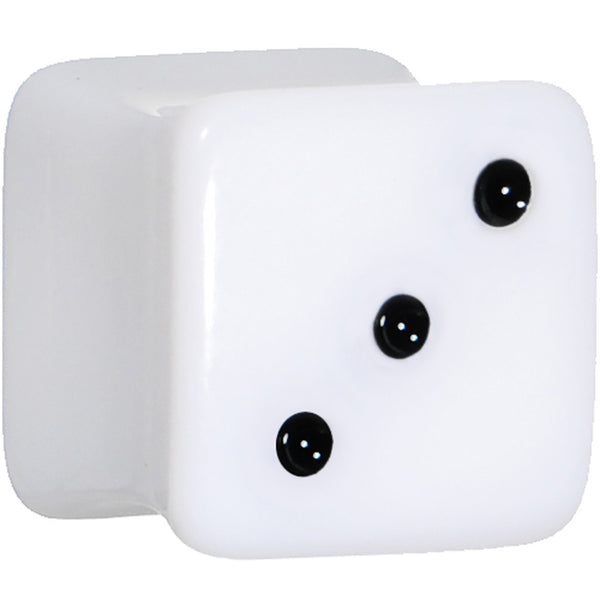 00 Gauge White Acrylic Square Dice Saddle Plug