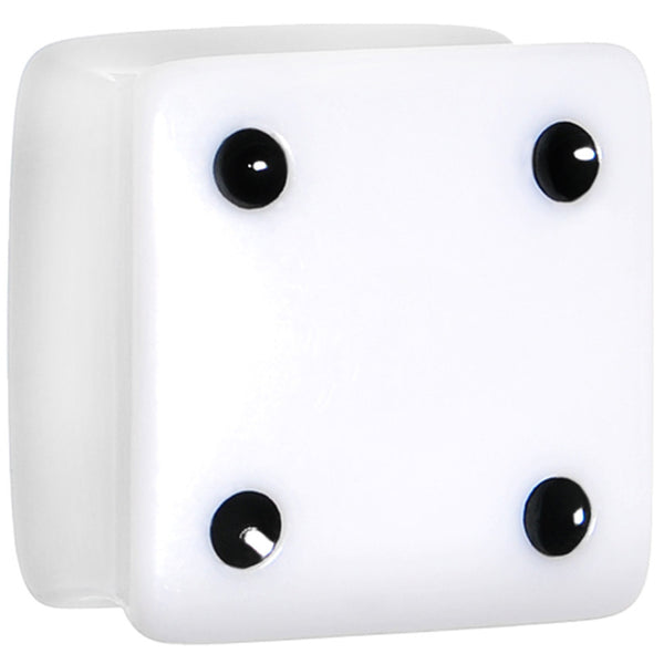 18mm White Acrylic Square Dice Saddle Plug