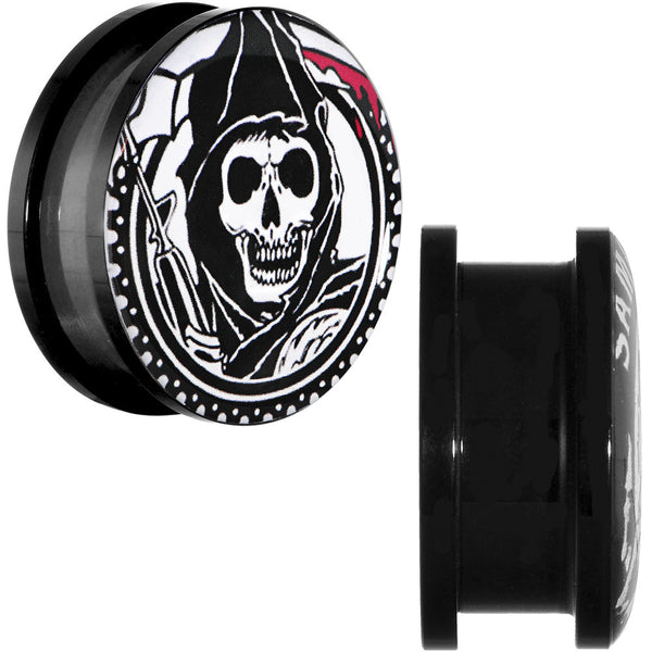 "1"" Acrylic Sons of Anarchy Gunsickle Grim Reaper Screw Fit Plug Set"