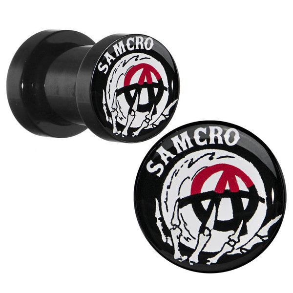 2 Gauge Acrylic Sons of Anarchy Skull Hand SAMCRO Screw Fit Plug Set