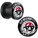 0 Gauge Acrylic Sons of Anarchy Skull Hand SAMCRO Screw Fit Plug Set