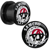 00 Gauge Acrylic Sons of Anarchy Skull Hand SAMCRO Screw Fit Plug Set