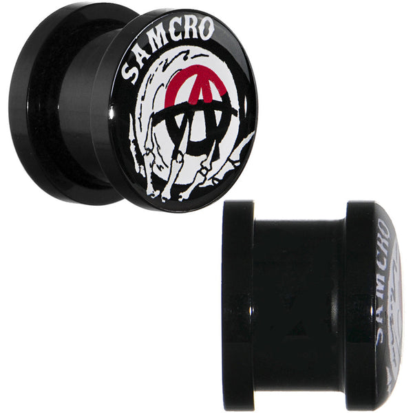 "7/16"" Acrylic Sons of Anarchy Skull Hand SAMCRO Screw Fit Plug Set"