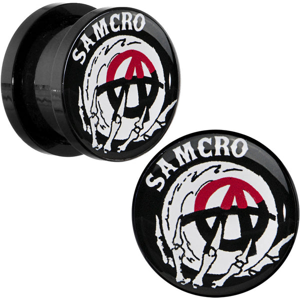 1/2 Acrylic Sons of Anarchy Skull Hand SAMCRO Screw Fit Plug Set