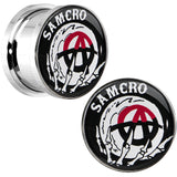 "9/16"" Surgical Steel Sons of Anarchy Skull Hand SAMCRO Screw Fit Plug Set"