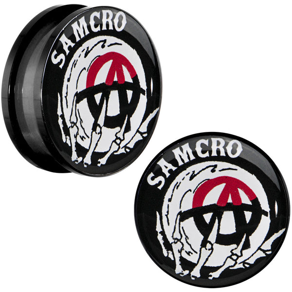"7/8"" Acrylic Sons of Anarchy Skull Hand SAMCRO Screw Fit Plug Set"