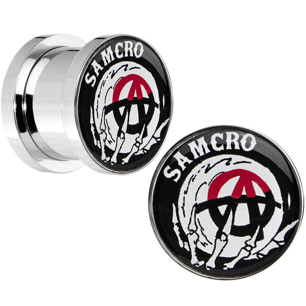 00 Gauge Surgical Steel Sons of Anarchy Skull Hand SAMCRO Screw Fit Plug Set