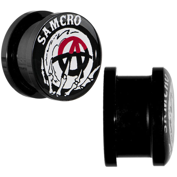 9/16 Acrylic Sons of Anarchy Skull Hand SAMCRO Screw Fit Plug Set