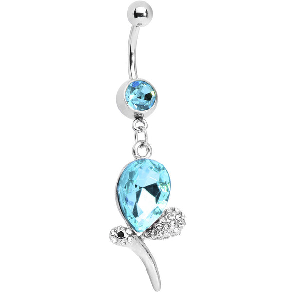 Aqua Gem Teardrop Dragonfly Belly Ring