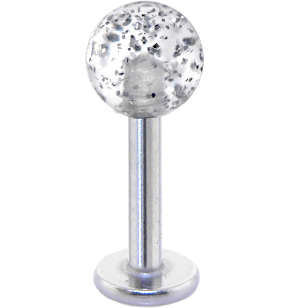 Clear Acrylic Ball Glitter Labret