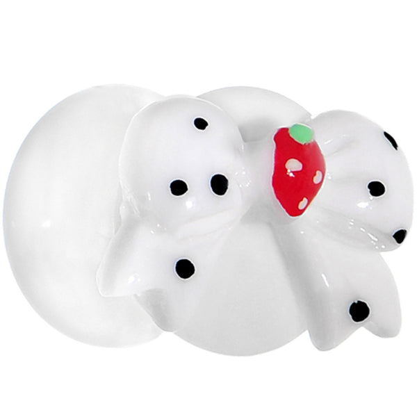 00 Gauge White Acrylic Berry Polka Dot Bow Saddle Plug
