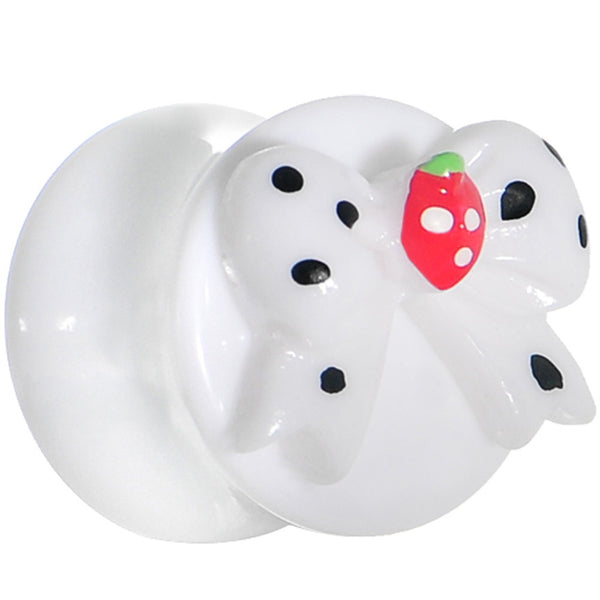 "1/2"" White Acrylic Berry Polka Dot Bow Saddle Plug"