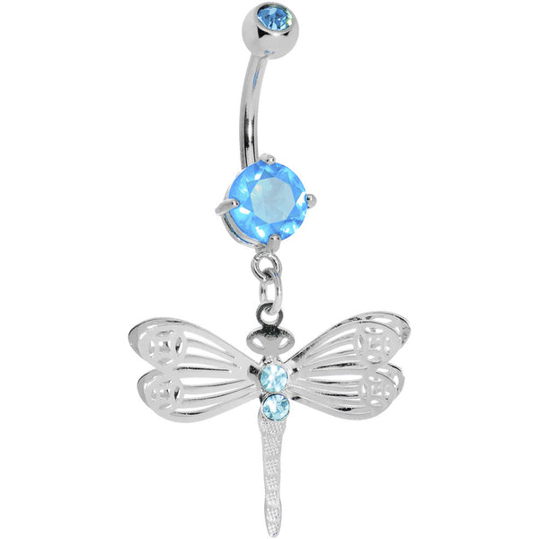 Aqua Gem Lace Wing Dragonfly Belly Ring