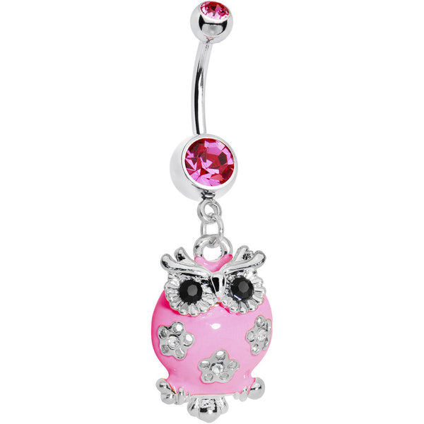 Pink Gem Flower Owl Belly Ring