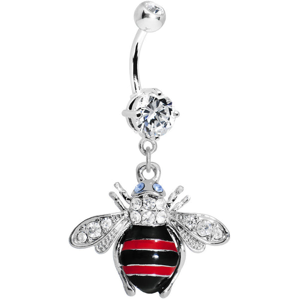 Crystalline Gem Red Bumble Bee Belly Ring