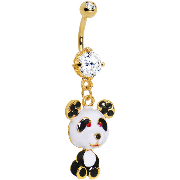 Gold IP Crystalline Gem Cute Panda Belly Ring