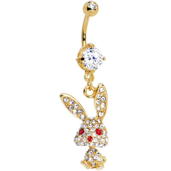 Gold IP Crystalline Gem Paved Bunny Belly Ring