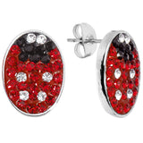 Red Ferido Crystal Ladybug Stud Earrings