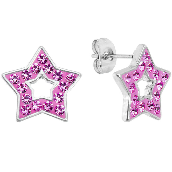 Pink Ferido Crystal Star Stud Earrings