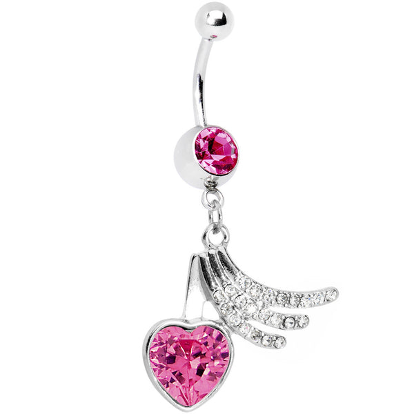 Pink Gem Heart Trails Belly Ring