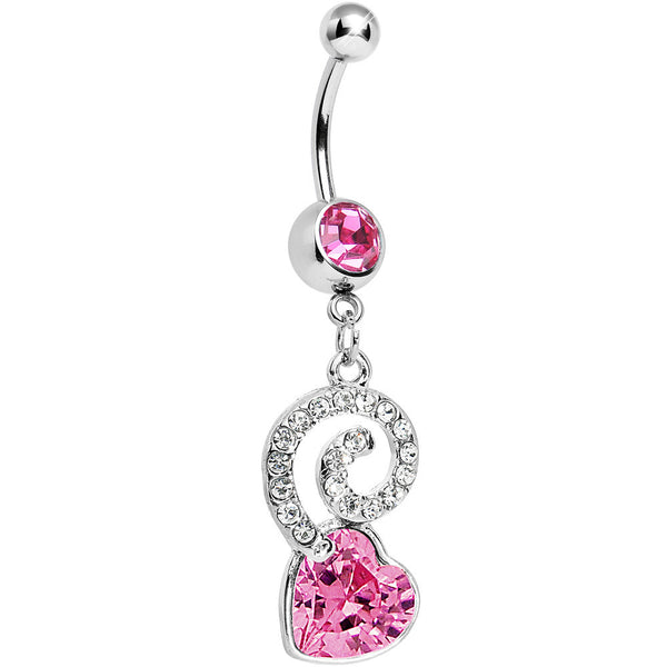 Pink Gem Cosmic Swirl Heart Belly Ring