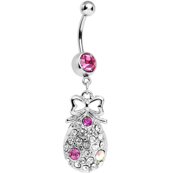 Pink Gem Bow and Paved Teardrop Belly Ring