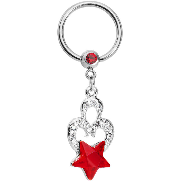 Crystalline Heart Red Star Captive Ring