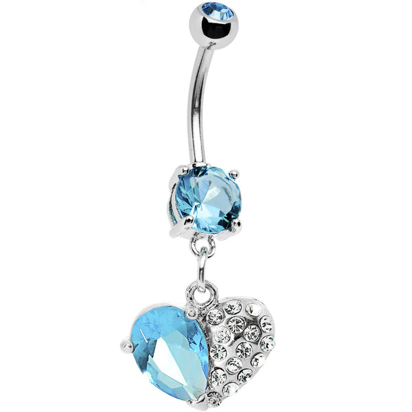 Aqua Gem Half My Heart Belly Ring