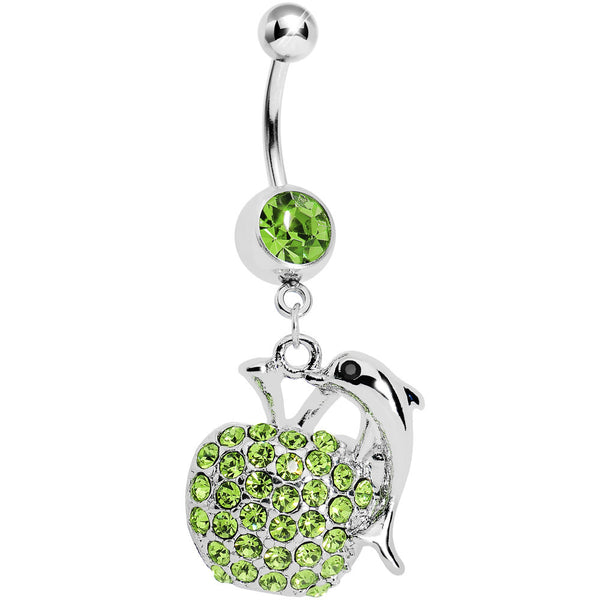 Green Apple Dolphin Belly Ring