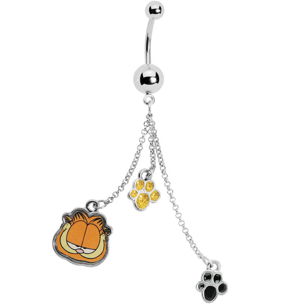 Paw Print Chain Dangle Garfield Belly Ring