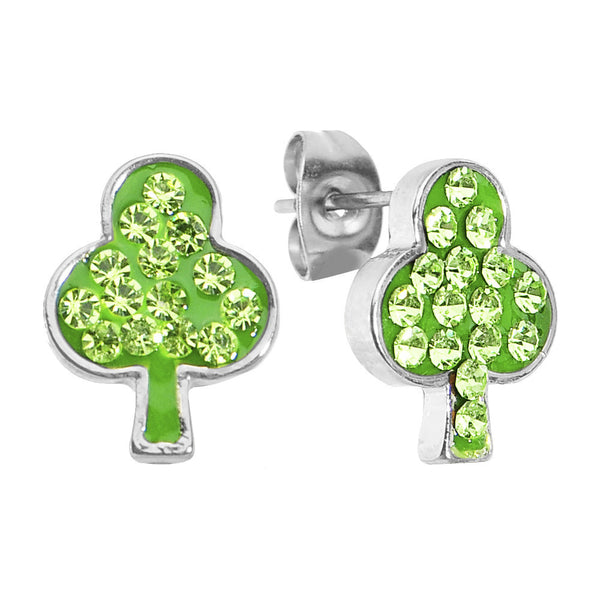 Green Ferido Crystal Lucky Clover Stud Earrings